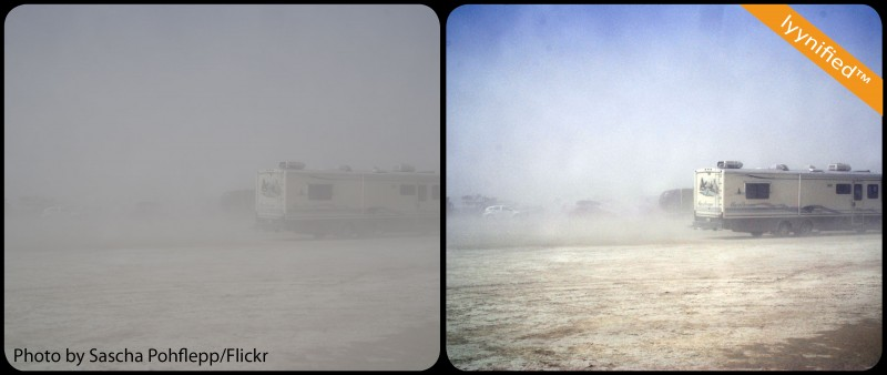 RV parking in dust storm
