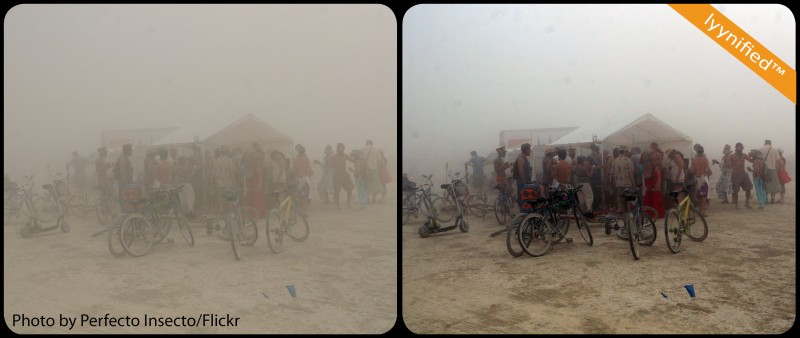 Bikes and tent in dust storm