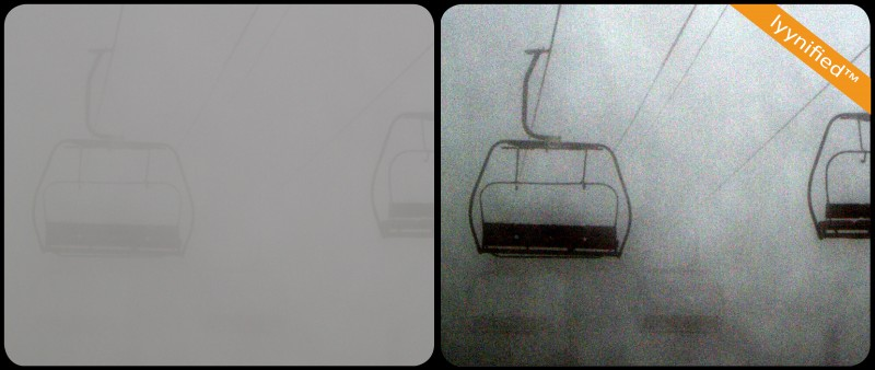 Ski lift in fog and snow