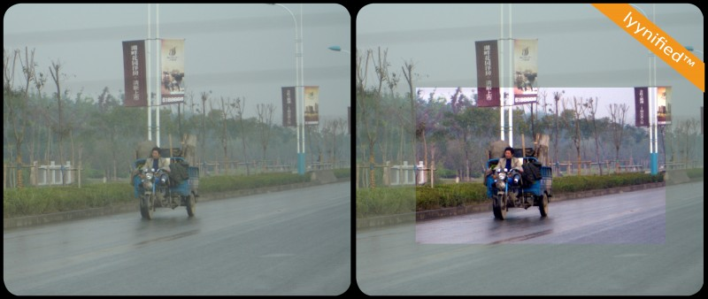 Chinese road in rain, through car window