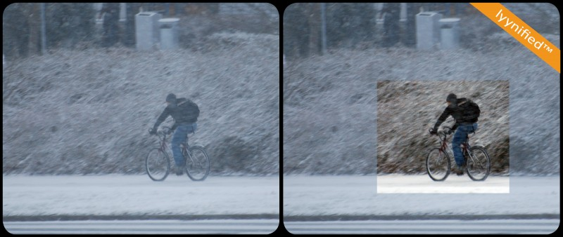 Bicycle in snow storm, outside LYYN office