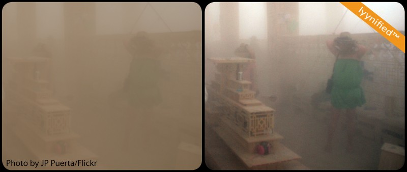 Indian temple in dust storm